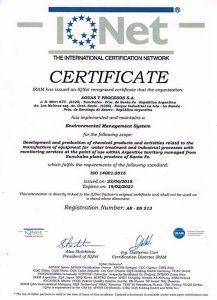 """IQNet: """"Certificado Gestión Ambiental Norma ISO 14001:2015"""""""