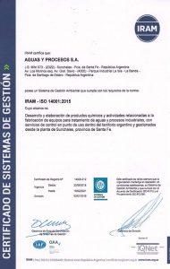 """IRAM: """"Certificado Gestión Ambiental Norma ISO 14001:2015"""""""
