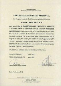 """""""Certificado de Aptitud Ambiental"""""""
