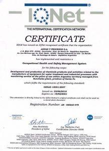"""IQNet: """"Certificado Gestión de Seguridad y Salud Ocupacional Norma OHSAS 18001:2007"""""""