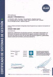 """IRAM: """"Certificado Gestión de Seguridad y Salud Ocupacional Norma OHSAS 18001:2007"""""""
