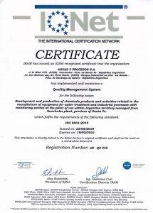 """IQNet: """"Certificado Gestión dela Calidad Norma ISO 9001:2015"""""""